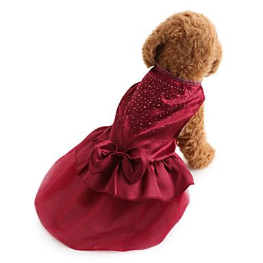 abordables Ropa para Perro-Perro Vestidos Ropa para Perro Un Color Lentejuela Rojo Azul Terileno Disfraz Para Bichón Frisé Schnauzer Pekinés Primavera & Otoño Verano Mujer Vacaciones Boda Moda