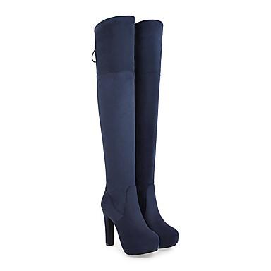 Chaussures Automne Hiver rond Bleu Noir Aiguille Cuir Bottes 06455849 slouch à Bout Mode Femme la bottes Vin Nubuck Bottes Talon Cuissarde ptIdAw
