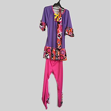 Outfits Hipisowskie Kostium Dla dzieci Kostium imprezowy Purple Postarzane Cosplay Poly / Cotton Długi rękaw Dzwon Majtki