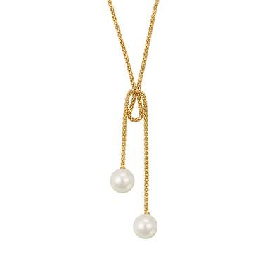 Damskie Pearl imitacja Naszyjniki z wisiorkami Y-Naszyjniki - Prosty Podstawowy Circle Shape Silver Różowe złoto Naszyjniki Na Impreza