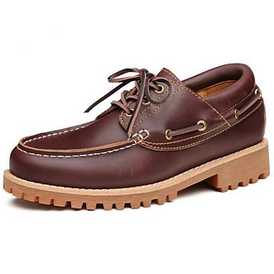 Hombre Zapatos Cuero Primavera Confort Oxfords Negro / Marrón / Morrón Oscuro 7Rzyl