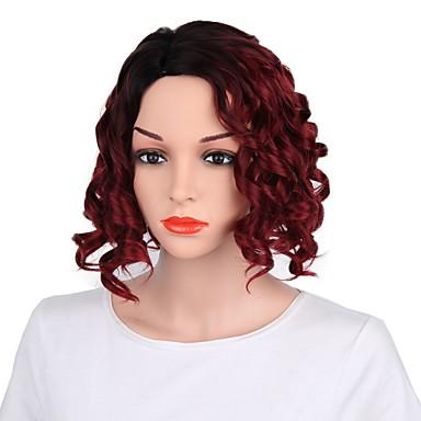 Peruki syntetyczne Fala Ciała Fryzura cieniowana Włosy syntetyczne Ciemne u nasady Czerwony Peruka Damskie Krótki Bez czepka