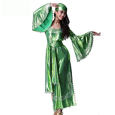 Marilyn Monroe Vintage Cygańskie Kostium Damskie Stroje Green Postarzane Cosplay Chinlon Nylon Rękaw 1/2 Dzwon Do kostki Midi