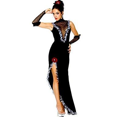 Vintage Cygańskie Kostium Damskie Sukienki Bal maskowy Kostium imprezowy Black Postarzane Cosplay Poliester Bez rękawów Bez rękawów