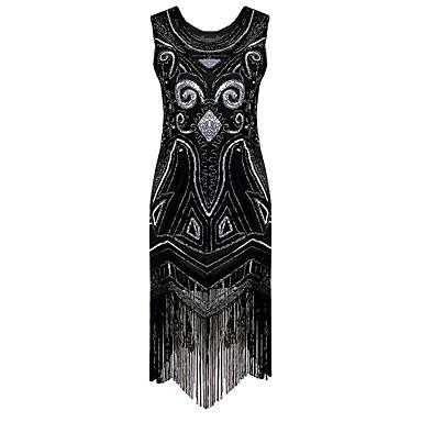 Wielki Gatsby Vintage Lata 20. Kostium Damskie Sukienka koktajlowa Suknia klapek Kostium imprezowy Black Postarzane Cosplay Cekin Bez