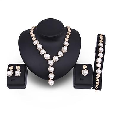 Damskie Perła Biżuteria Ustaw - Sztuczna perła, Pozłacany Duże, Ponadgabarytowych Zawierać Złoty Na Ślub Impreza / Kolczyki