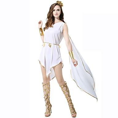 Bogini Athena Starożytny Rzym Starożytna Grecja Kostium Damskie Spódnice White Postarzane Cosplay Poliester Bez rękawów Do kolan