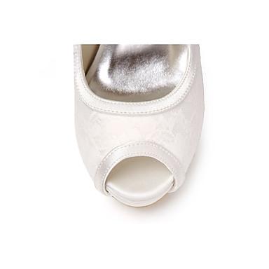 Mariage Talon Femme Eté Chaussures 06450887 ouvert Bout Soirée Chaussures Aiguille mariage Dentelle de Evénement Blanc Basique Printemps Noeud Escarpin amp; zwrZpqzA