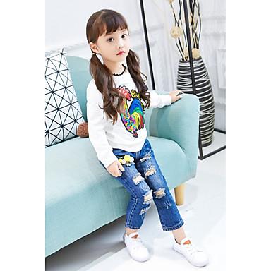 Brzdąc Dla dziewczynek Prosty Jendolity kolor / Rysunek Długi rękaw Bawełna T-shirt / Urocza