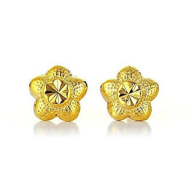 Damskie Kolczyki sztyfty - Pozłacany Kwiat Podstawowy Złoty Na Zaręczynowy Codzienny