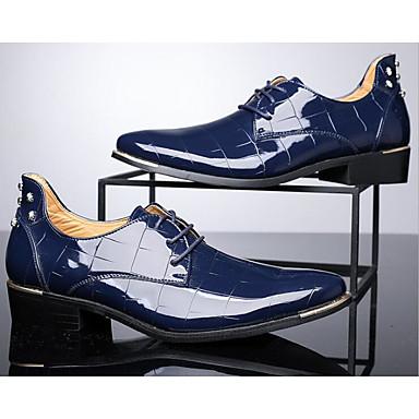 Męskie Komfortowe buty Skóra patentowa Jesień / Zima Oksfordki Spacery Czarny / Czerwony / Niebieski / Obuwie w stylu wojskowym