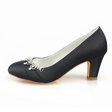Femme Printemps Bottier Noir 06438397 rond de Basique Automne Satin Escarpin mariage Bout Talon Chaussures Elastique Bleu Cristal Chaussures rBUrq