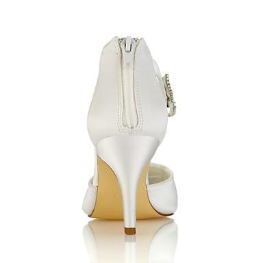 Satin Escarpin pointu Aiguille 06438406 Bout Chaussures Printemps Elastique mariage Cristal Basique Femme de Ivoire Chaussures Talon Eté B5WPwO