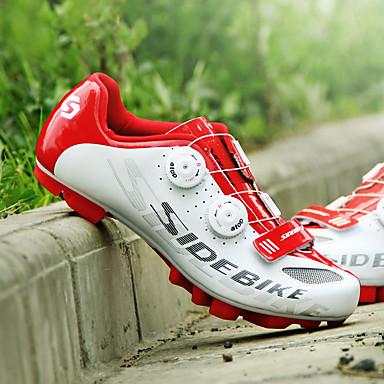 SIDEBIKE Erwachsene Fahrradschuhe mit Pedalen & Pedalplatten / Mountainbikeschuhe Karbon Polsterung Radsport Schwarz und Weiß Herrn