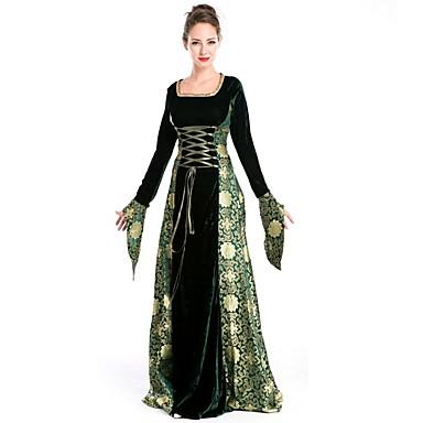 Średniowieczne Kostium Damskie Bal maskowy Green/Black Postarzane Cosplay Poliester Długi rękaw Dzwon Sięgająca podłoża