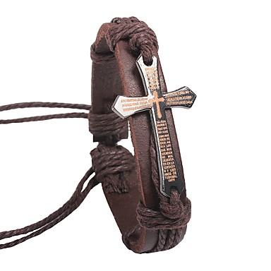 voordelige Herensieraden-Heren Dames Bangles Lederen armbanden Kruis Klassiek Rock Leder Armband sieraden Zwart / Koffie Voor Uitgaan Festival