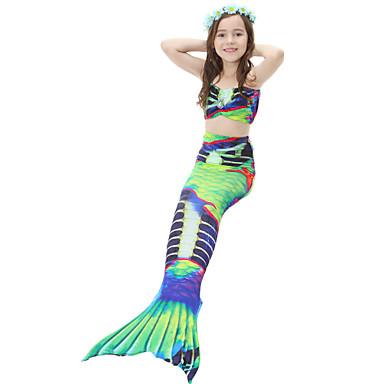 בנות חמוד פעיל דפוס בגדי ים, כותנה פוליאסטר ללא שרוולים תלתן