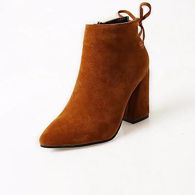 d309db8d58068 Femme Chaussures Cuir Nubuck Printemps Automne Botillons Confort Bottes  Talon Bottier Bottine Demi Botte pour