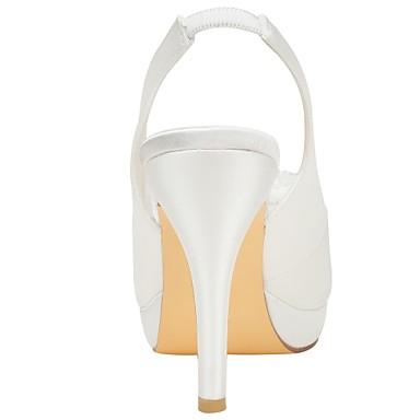 Chaussures 06430251 mariage Soirée Bout Perle Evénement Aiguille Basique Elastique Talon de Satin ouvert Femme Eté amp; Escarpin Chaussures Ivoire qAHYUH