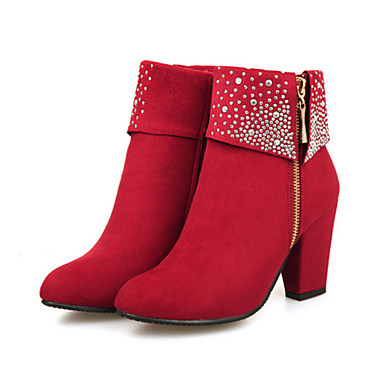 Women s Suede Fall   Winter Comfort   Novelty   Bootie Boots Chunky Heel  Pointed Toe Booties   Ankle Boots Rhinestone Black   Red   Blue   Wedding    Party   ... 7dfb09a0707b