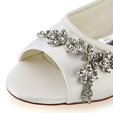 Talon Elastique Satin Plat Femme Ivoire 06438379 Chaussures Basique Escarpin ouvert Eté mariage Chaussures Cristal Printemps Bout Blanc de Eqww4vC