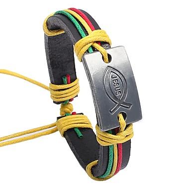 voordelige Herensieraden-Heren Armband Klassiek Vintage Leder Armband sieraden Regenboog / Bruin Voor Lahja Afspraakje