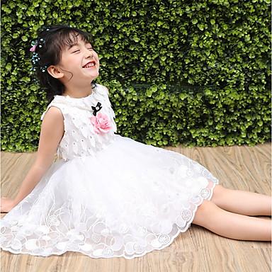 baratos Vestidos para Meninas-Infantil Para Meninas Diário Para Noite Sólido Bordado Jacquard Sem Manga Vestido Branco / Algodão / Fofo / Princesa
