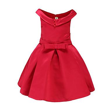 baratos Vestidos para Meninas-Infantil Para Meninas Simples Para Noite Casual Sólido Borboleta Estampado Sem Manga Vestido Vermelho / Algodão / Fofo / Princesa