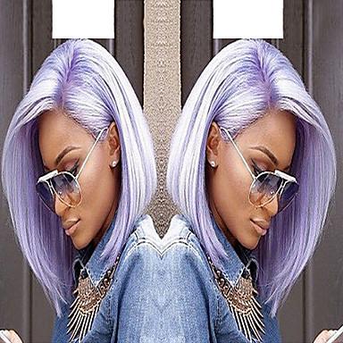 ieftine Peruci Dantelă Sintetice-Lănțișoare frontale din sintetice Drept / Ondulat Stil Tunsoare bob Față din Dantelă Perucă Violet Bright Purple Păr Sintetic Pentru femei Partea laterală Violet Perucă Scurt / Mediu Perucă Cosplay