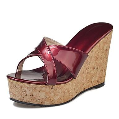 בגדי ריקוד נשים נעליים גומי קיץ נוחות סנדלים עקב טריז שחור / בז' / Wine / נעלי עקב