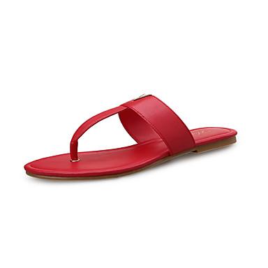 בגדי ריקוד נשים נעליים מיקרופייבר PU סינתטי אביב / קיץ נוחות סנדלים שטוח שחור / אדום
