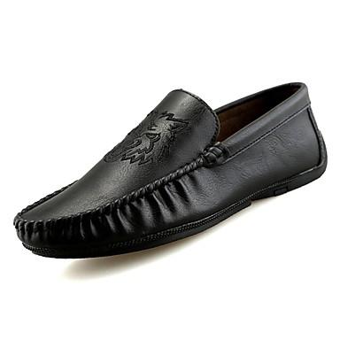 בגדי ריקוד גברים נעלי נהיגה PU אביב / סתיו נעליים ללא שרוכים שחור / חום / חאקי / פפיון