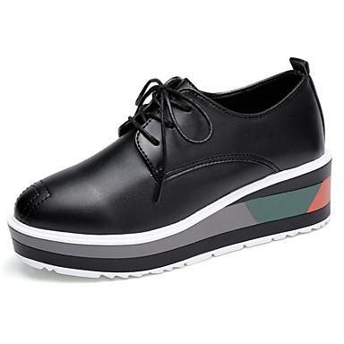de Confort Oxfords Hauteur compensée Automne Femme 06501937 semelle Noir Chaussures Printemps Cuir Blanc Verni 0xwwY8Xq
