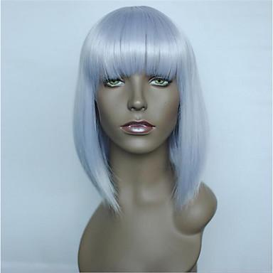 פאות סינתטיות ישר תספורת בוב / תספורת שכבות / בוב קצר שיער סינטטי שיער טבעי סגול פאה קצר ללא מכסה