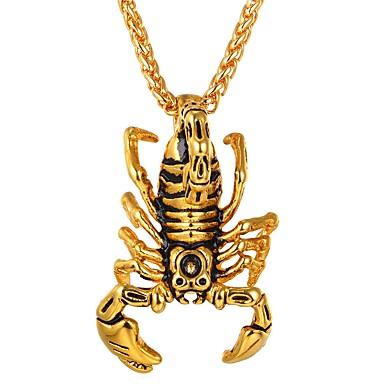 abordables Collier-Collier Pendentif Homme Femme Acier inoxydable Scorpion Hip-Hop Cool Dorée Argent Colliers Tendance Bijoux 1 pour Quotidien Costumes de cosplay