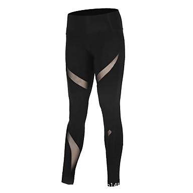 בגדי ריקוד נשים טייץ לריצה - שחור ספורט רשת טייץ רכיבה על אופניים / חותלות יוגה, כושר וספורט, חדר כושר לבוש אקטיבי ייבוש מהיר