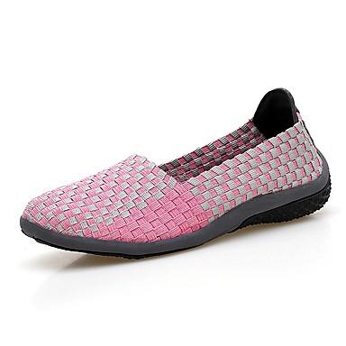 בגדי ריקוד נשים נעליים PU אביב / סתיו נוחות נעליים ללא שרוכים שטוח בוהן מציצה שחור / אפור / פוקסיה