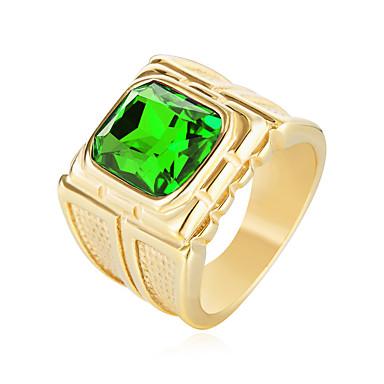 בגדי ריקוד גברים זירקונה מעוקבת טבעת הצהרה - פלדת על חלד, זירקון אופנתי 8 / 9 / 10 אדום / ירוק / כחול עבור יום הולדת / מתנה