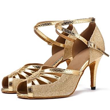 נעליים לטיניות רשת / דמוי עור סנדלים / עקבים שחבור עקב מותאם מותאם אישית נעלי ריקוד זהב