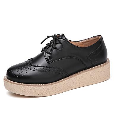 Mujer Zapatos PU microfibra sintético Primavera / Otoño Confort Zapatillas de deporte Tacón Plano Dedo redondo Blanco / Negro / Borgoña eosHDZbB