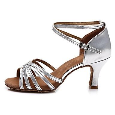 בגדי ריקוד נשים נעליים לטיניות דמוי עור עקבים רתן עקב קובני מותאם אישית נעלי ריקוד זהב / כסף