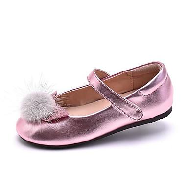 בנות נעליים מיקרופייבר PU סינתטי אביב / סתיו נוחות / נעליים לילדת הפרחים שטוחות ל כסף / ורוד