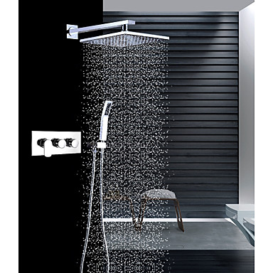 ברז למקלחת - עכשווי כרום מותקן על הקיר שסתום קרמי / Brass / שלוש ידיות שלושה חורים