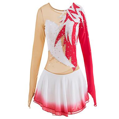 Figure Skating Dress Women's / Girls' Ice Skating Dress Red Spandex High Elasticity Competition Skating Wear Handmade Jeweled / Rhinestone Long Sleeve Ice Skating / Figure Skating