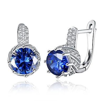 Χαμηλού Κόστους Μοδάτα Σκουλαρίκια-Γυναικεία Cubic Zirconia High Crystal Σκουλαρίκια με Κλιπ Κλασσικό Μοντέρνα Ζιρκονίτης Ασημί Σκουλαρίκια Κοσμήματα Βυσσινί / Μπλε Για Γάμου Καθημερινά