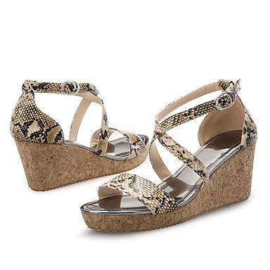 Chaussures compensée microfibre synthétique PU semelle Eté Confort Crin Hauteur Cheval Motif Printemps de Animal Femme de Sandales de 06532527 1Wd4Znq4