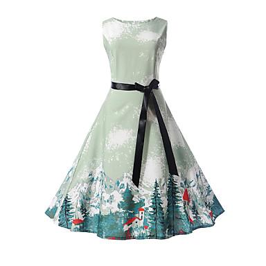 Χαμηλού Κόστους Φορέματα για κορίτσια-Παιδιά Κοριτσίστικα Κομψό στυλ street Καθημερινά / Εξόδου Στάμπα Αμάνικο Βαμβάκι Φόρεμα Μπλε Απαλό / Χαριτωμένο