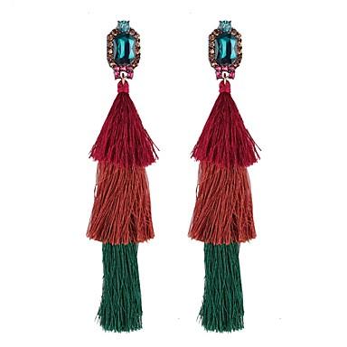בגדי ריקוד נשים זירקונה מעוקבת פרנזים ארוך עגילי טיפה - קריסטל צִיצִית, אתני אדום / ירוק / כחול עבור יומי