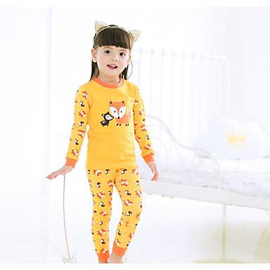 baratos Lingerie & Meias para Meninas-Bébé Para Meninas Simples Padrão Manga Longa Padrão Padrão Algodão Roupa de Dormir Roxo