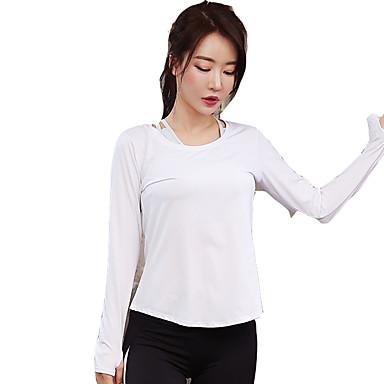 בגדי ריקוד נשים צווארון עגול קצר טישרט לריצה - לבן, אפור ספורט צמרות יוגה, כושר וספורט, חדר כושר שרוול ארוך לבוש אקטיבי ייבוש מהיר, נשימה, דק מאוד סטרצ'י (נמתח)